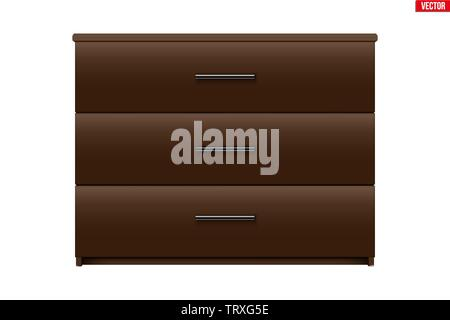 Brown Chest of drawers. - Stock Image