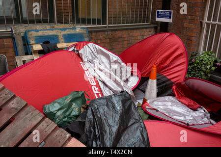 Days after the arrrest of Julian Assange in Knightsbridge, assorted rubbish is still piled up at the rear of the Ecuadorian embassy, on 15th April 2019, in London, England. - Stock Image