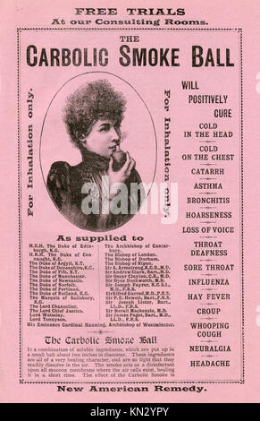 Carbolic Smoke Ball, 1891 advert for the patent medicine famous for the case brought by Carlill in 1892 against - Stock Image