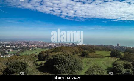 Aerial view of the town of Eastbourne, Southern England - Stock Image