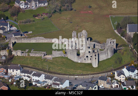 An aerial view of Newcastle Castle, Bridgend, South Wales - Stock Image