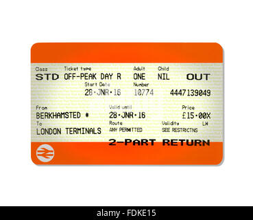 An outbound train ticket - Stock Image