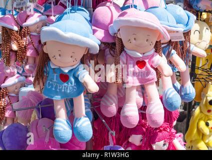 Souvenir soft toys on stand outside Kykkos Monastery, Kykkos, Troodos Mountains, Limassol District, Republic of Cyprus - Stock Image