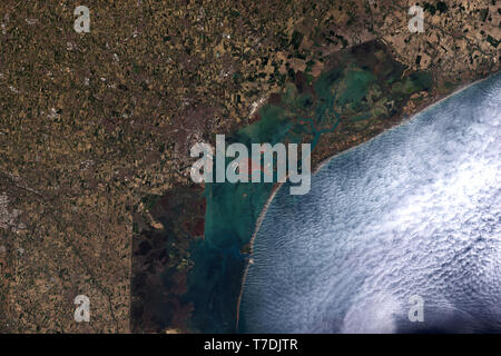 Space view of clouds approaching Venice and the Venetian Lagoon in Italy - contains modified Copernicus Sentinel Data (2019) - Stock Image