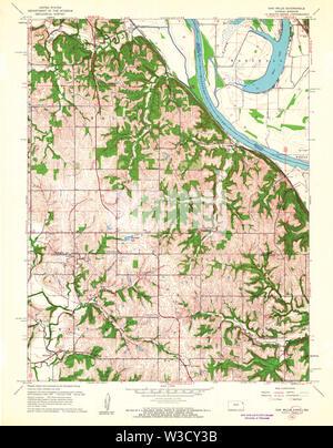USGS TOPO Map Kansas KS Oak Mills 512139 1961 24000 Restoration - Stock Image