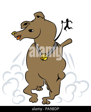 Dog and owner  illustration of naughty pets. Dog running very speedy and owner  fall behind. - Stock Image