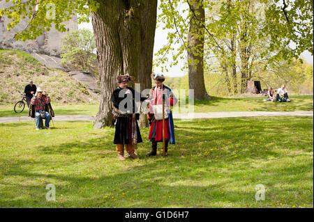 Majowka z Kmicicem in Janowiec Castle event of Swedes assault on the castle, historical battle reenactment, Swedish - Stock Image