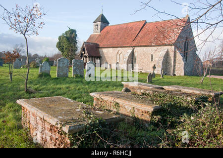 St Mary's church, Binsted, West Sussex, England. Binsted is an ancient village steeped in folklore & is under threat of Arundel bypass - Stock Image