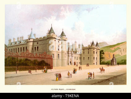 Vintage print of Holyrood Palace, Edinburgh, Scotland circa 1880s.  The Palace of Holyroodhouse, commonly referred to as Holyrood Palace, is the official residence of the monarch in Scotland. The palace stands at the bottom of the Royal Mile in Edinburgh, at the opposite end to Edinburgh Castle. Holyrood Palace is the setting for state ceremonies and official entertaining. - Stock Image