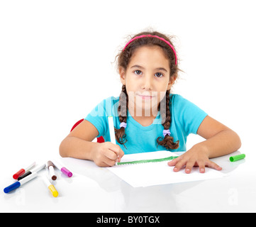 little girl drawing isolated on white - Stock Image