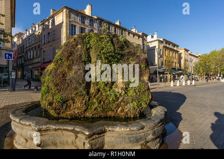 fountain,  Cours Mirabeau, Aix en Provence, France - Stock Image