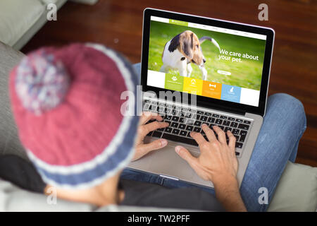 man browsing pet website. All screen graphics are made up. - Stock Image