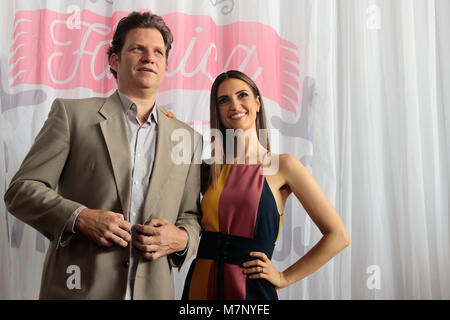 Sao Paulo, Brazil. 12th March, 2018. TV host and Chef Carlos Bertolazzi and Chris Flores attends the press during - Stock Image