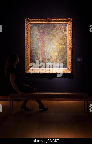 London, UK. 16 June 2017. A Christie's employee looks at the painting Saule pleureur, 1918-19, by Claude Monet, - Stock Image