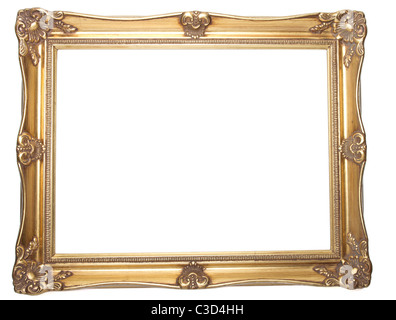 Old empty picture frame isolated on white background. - Stock Image