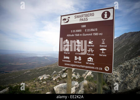 A brown tourist information sign on the Swartberg Pass on the R328 road in the Western Cape, South Africa. - Stock Image