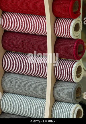 Selection of carpet samples to choose the perfect match for decorating your home interior. - Stock Image