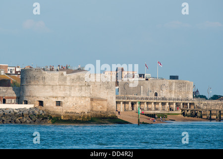 The Round Tower and Square Tower in Old Portsmouth, historic naval defenses seen from Gosport across the harbour - Stock Image