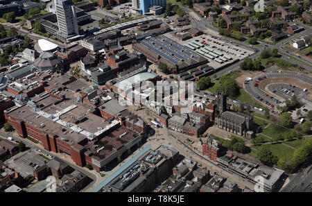 aerial view of Oldham town centre, Greater Manchester - Stock Image