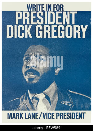 'Write in for President Dick Gregory – Mark Lane / Vice President' 1968 presidential campaign poster as candidate of the Freedom and Peace Party. See more information below. - Stock Image