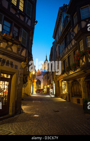 City center of Colmar at night, France - Stock Image