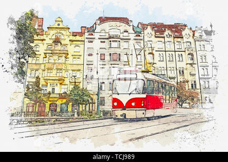 Watercolor sketch or illustration of a traditional old-fashioned tram on a street in Prague in the Czech Republic. - Stock Image