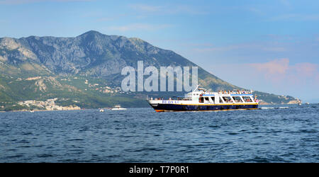 A boat trip in the Adriatic sea near Budva. - Stock Image