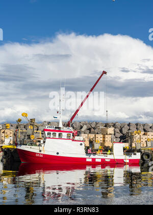 Harbor of Keflavik with fishing boats. Northern Europe, Iceland - Stock Image