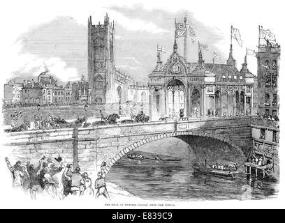 Arch at Victoria bridge over river Irwell Manchester circa 1853 - Stock Image