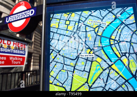 London, England, UK. 'You Are Her' tourist map by the entrance to Charing Cross underground station - Stock Image
