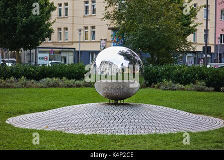 mirror ball on place in cologne reflecting and mirroring the environment - Stock Image