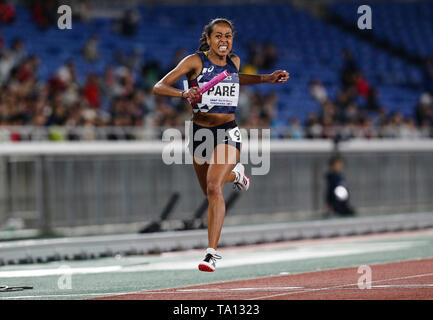 YOKOHAMA, JAPAN - MAY 12: Maroussia Paré of France anchors her team home in the women's 4x200m final during Day 2 of the 2019 IAAF World Relay Championships at the Nissan Stadium on Sunday May 12, 2019 in Yokohama, Japan. (Photo by Roger Sedres for the IAAF) - Stock Image