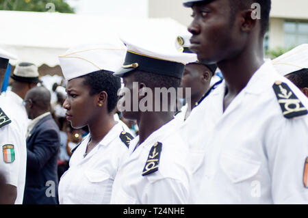 Abidjan, Ivory Coast - August 3, 2017: shoulder pad ceremony for students leaving the Maritime Academy. a group of young sailors dressed in blankets w - Stock Image