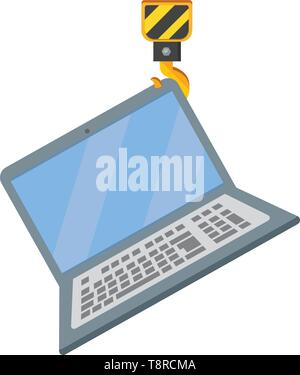laptop wih crane hook icon cartoon vector illustration graphic design - Stock Image