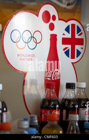 Cocal Cola sponsorship partner branding at Olympic Park, London 2012 Olympic Games site, Stratford London E20 UK, - Stock Image