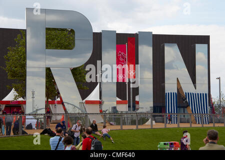 RUN sign outside Copper Box on a sunny day at Olympic Park, London 2012 Olympic Games site, Stratford London E20 - Stock Image