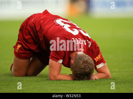 Prenton Park, Birkenhead, Wirral, UK. 11th July 2019. Pre-season friendly football, Tranmere versus Liverpool; Paul Glatzel of Liverpool reacts after sustaining an injury during his second half appearance Credit: Action Plus Sports Images/Alamy Live News - Stock Image
