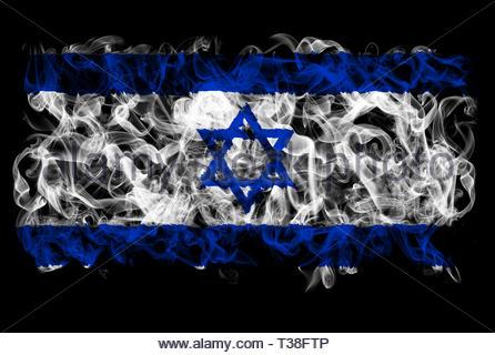 Smoking flag of Israel - Stock Image