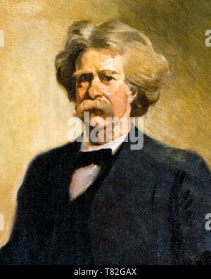 Mark Twain (1835-1910), portrait painting (detail), c. 1912 - Stock Image