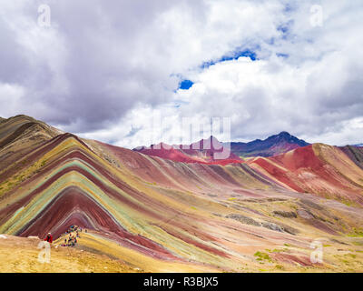Vinicunca, Peru - January 7, 2017. Views from the peak of the Vinicunca mountain (Rainbow mountain) - Stock Image