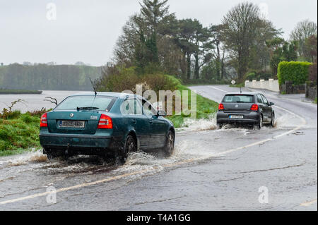 Skibbereen, West Cork, Ireland. 15th Apr, 2019. Much of Ireland is currently in the midst of a Status Orange Rainfall Warning, issued by Met Éireann. Cars negotiate a spot flood on the N71 near Skibbereen. Credit: Andy Gibson/Alamy Live News - Stock Image