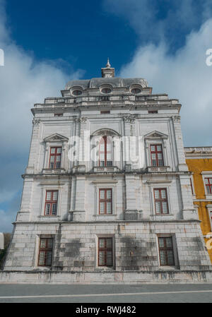 Mafra, Portugal - Feb 5, 2019: Facade of the National palace of Mafra, a Franciscan monastery in Baroque architecture style - Stock Image