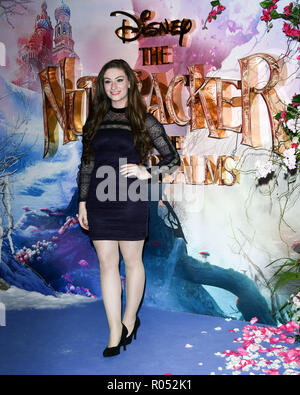 Amber Doig-Thorne attend The Nutcracker and the Four Realms - UK premiere at Vue Westfield, Westfield Shopping Centre, Ariel Way on 1st Nov 2018, London, UK. - Stock Image