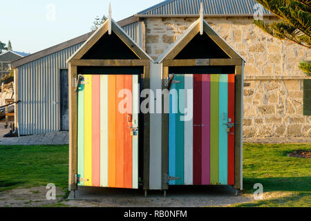 Wooden outdoors change rooms, Fremantle, Western Australia - Stock Image