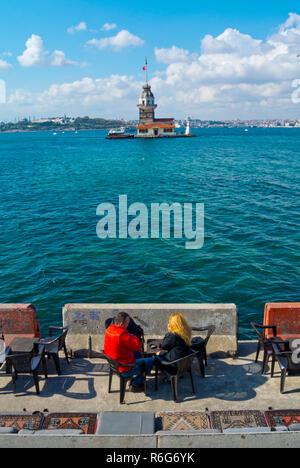 People, at Kiz Kulesi, Maiden's Tower, Uskudar, Istanbul, Turkey, Asian side - Stock Image