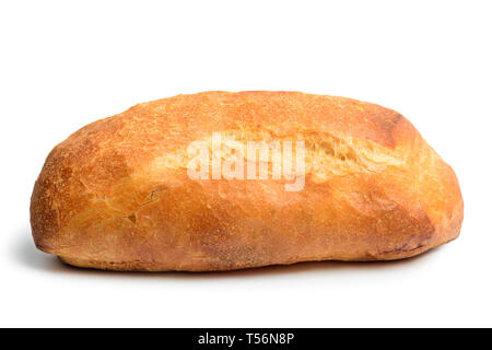 Ciabatta bread. Crusty white whreat bread italian cuisine. Isolated on white background. Side view close up - Stock Image