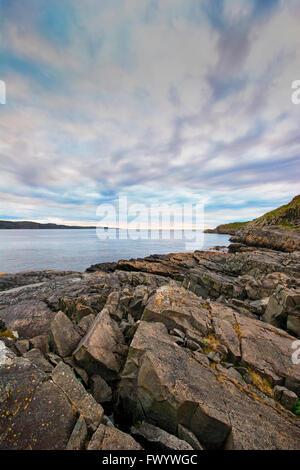 View over Bussesundet from island Vardø in the Varanger-region in arctic Norway. - Stock Image