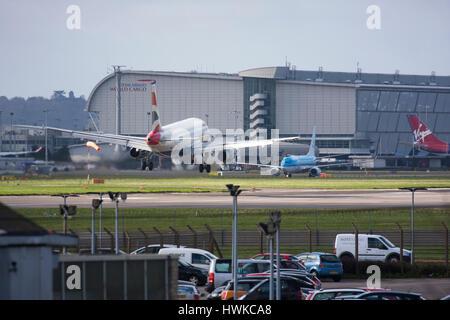 British Airways  Airbus A319 landing at London Heathrow Airport, UK - Stock Image