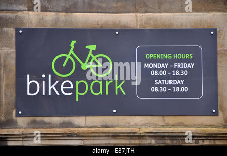 bike park sign, Town Hall, Leicester, England, UK - Stock Image