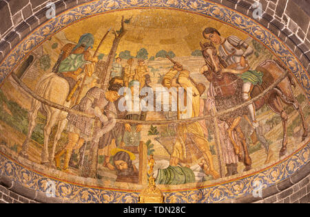 BELAGGIO, ITALY - MAY 10, 2015: The mosaic of Martyrdom of St. James the Less in church Chiesa di San Giacomo by Venetian school from end of 19. cent. - Stock Image